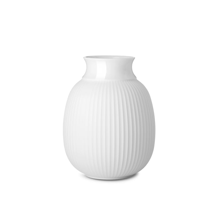 Curve Vase H 12,5 cm from Lyngby Porcelæn in white