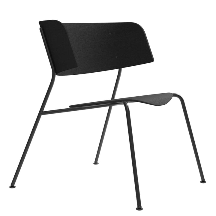 Wagner Loungechair from Objekte unserer Tage in oak lacquered black / black