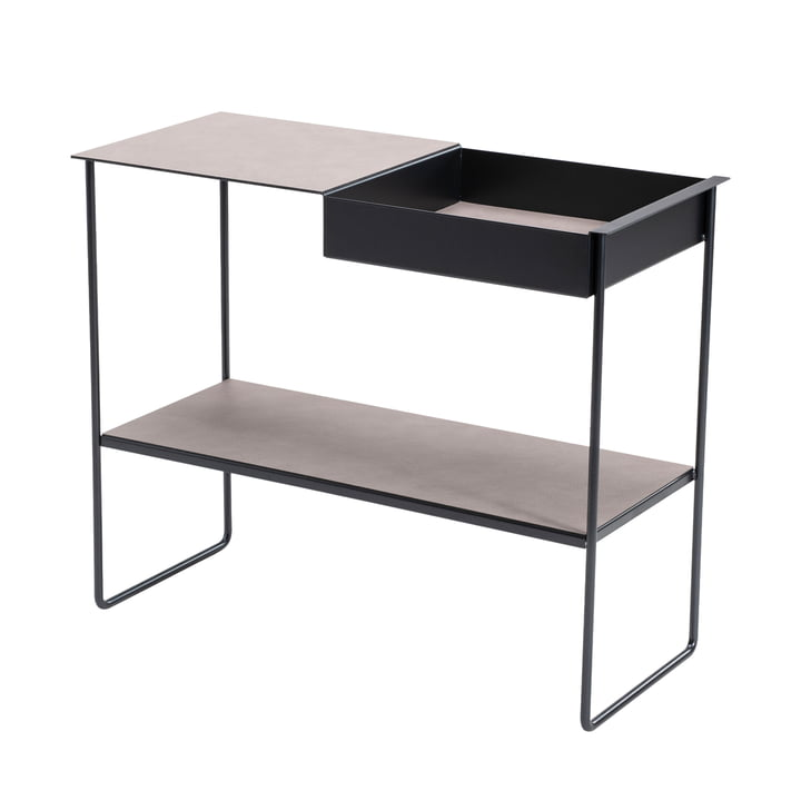 Console table with tray from LindDNA in steel black / Bull warm grey