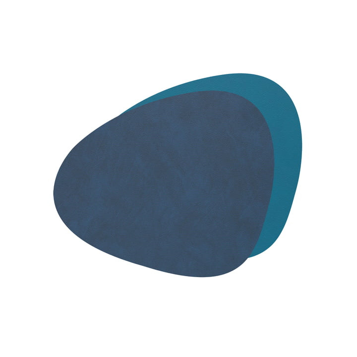 Glass coasters Curve Double from LindDNA in Nupo midnight blue / petrol