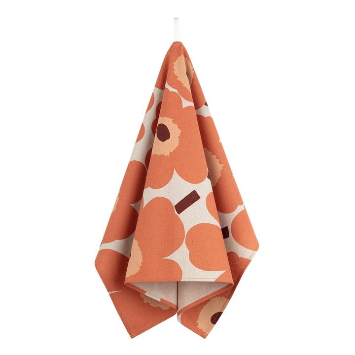 Marimekko - Pieni Unikko Tea towel, linen / orange / burgundy (autumn 2021)