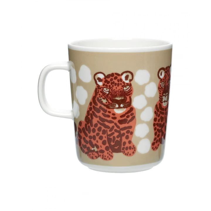 The Kaksoset mug with handle by Marimekko, 250 ml, beige / apricot / dark brown (Autumn 2021)