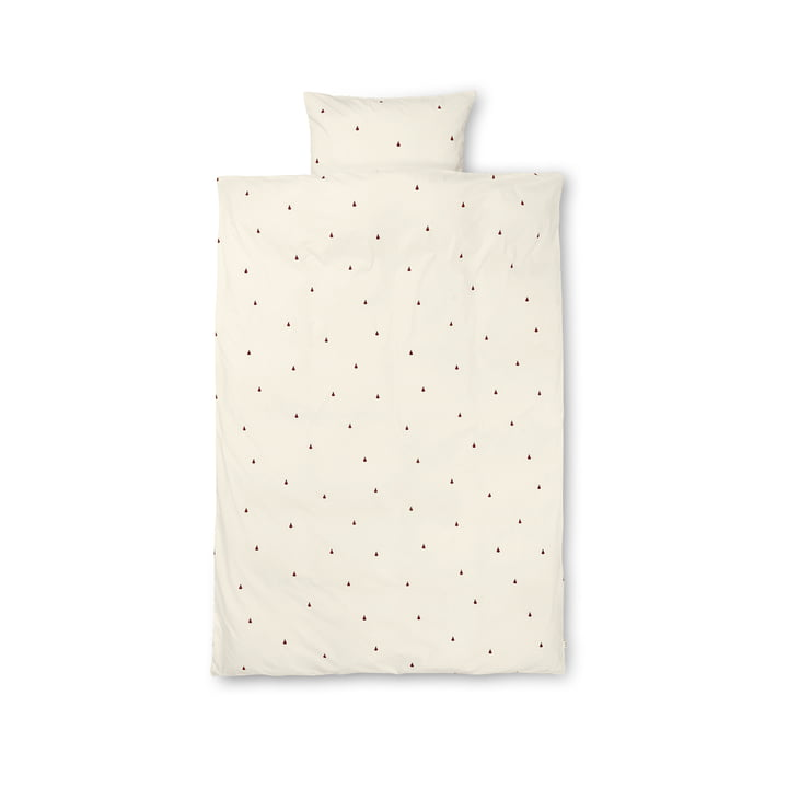 Pear children's bedding 100 x 140 cm by ferm Living in off-white / cinnamon red