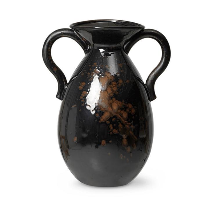 Verso Floor vase H 49 cm by ferm Living in black / brown