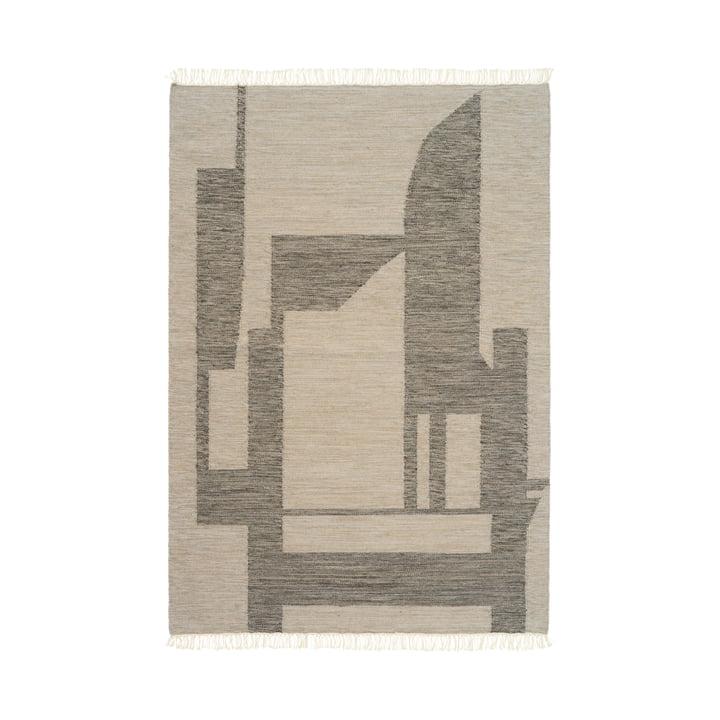Contemporary Kelim carpet 140 x 200 cm from Kristina Dam Studio in off-white / grey