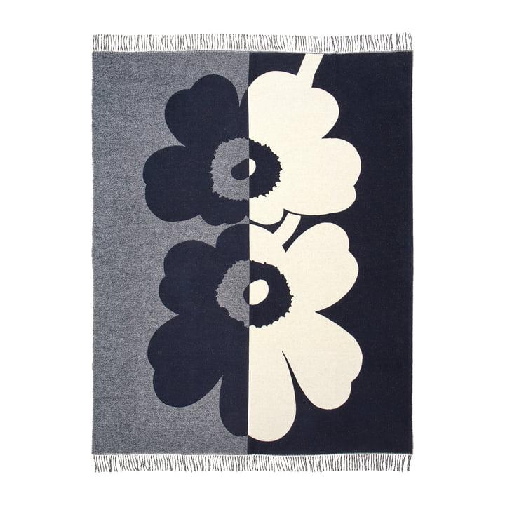 Unikko Blanket 130 x 170 cm from Marimekko in dark blue / sand / off-whilte / golden