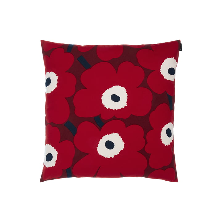 Pieni Unikko pillowcase from Marimekko in the design dark red / red / dark blue