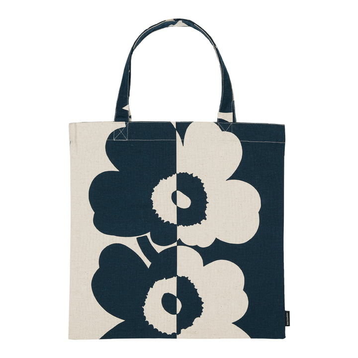 Unikko shopping bag from Marimekko in the version cotton white / dark blue
