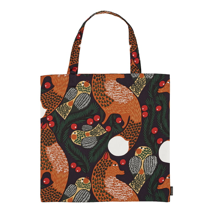 Ketunmarja shopping bag from Marimekko in the colours dark blue / brown / dark green