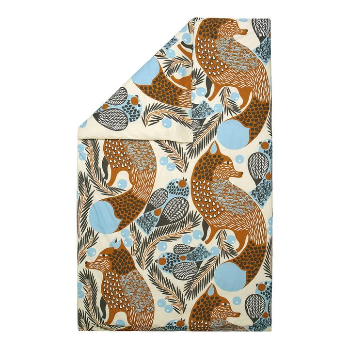 Ketunmarja duvet cover from Marimekko in the colours dark grey / cinnamon / light blue