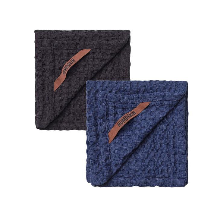 The Humdakin Waffle Textured Dishcloth, 28 x 28 cm, coal & sea blue