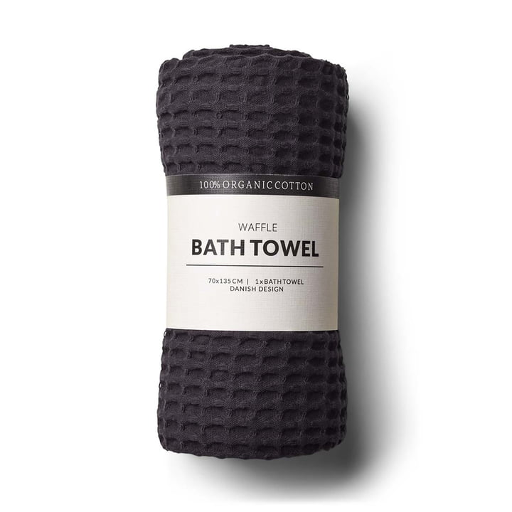 The bath towel with waffle structure by Humdakin, 70 x 135 cm, coal