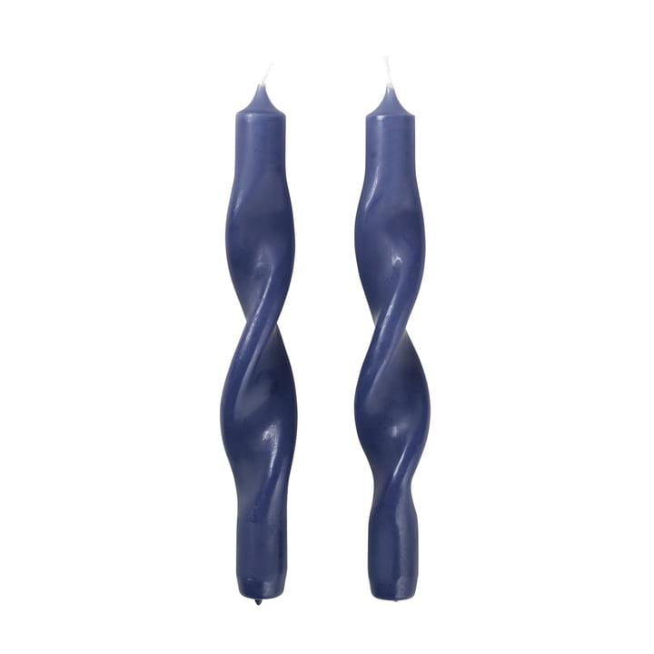 The Twist candles from Broste Copenhagen , baja blue (set of 2)