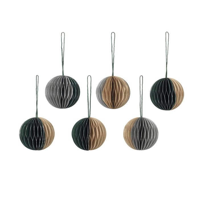 Broste Copenhagen - Christmas Ball Decorative pendant, Ø 5 cm, mixed colours (1) (set of 6)