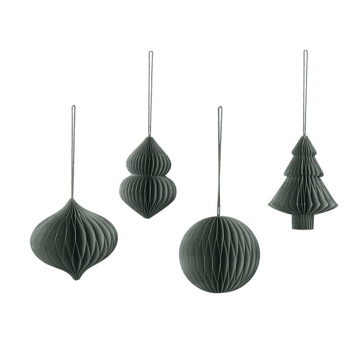 Broste Copenhagen - Christmas Mix Decorative pendant, Ø 9 x H 10 cm, thyme (set of 4)
