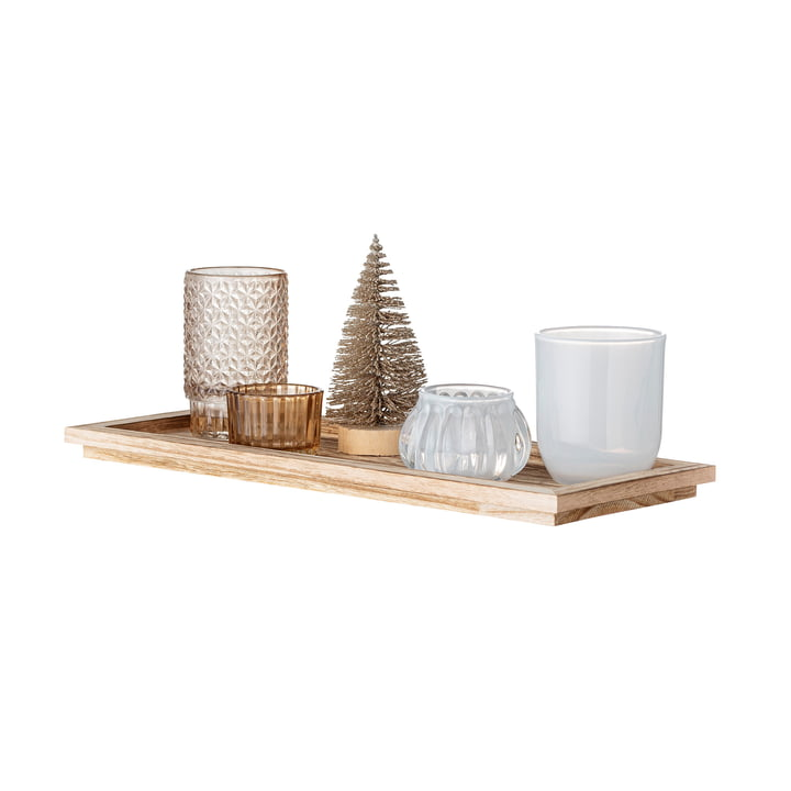 Otine Tray with tea light holders (6pcs.) in gold