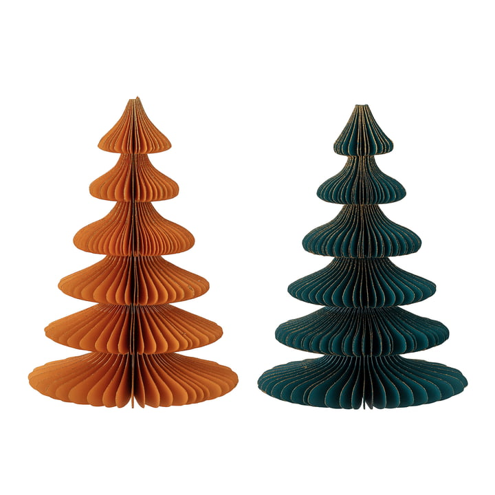 Milan Decorative Christmas tree Ø 15,5 x H 22,5 cm (set of 2) from Bloomingville in multicolor