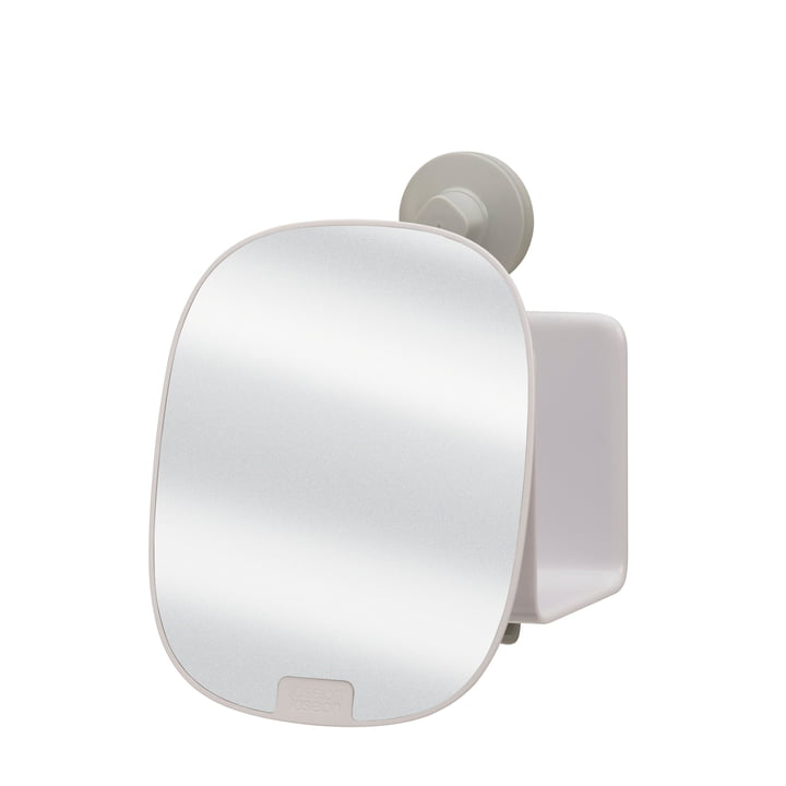 EasyStore Shower tray with adjustable mirror compact from Joseph Joseph in white