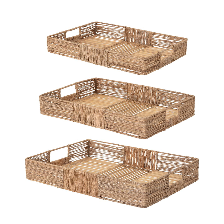 Lecia Tray from Bloomingville in jute natural (set of 3)