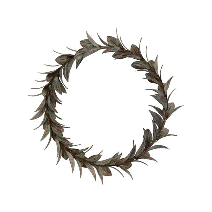 Tare Leaf wreath from House Doctor in antique copper finish