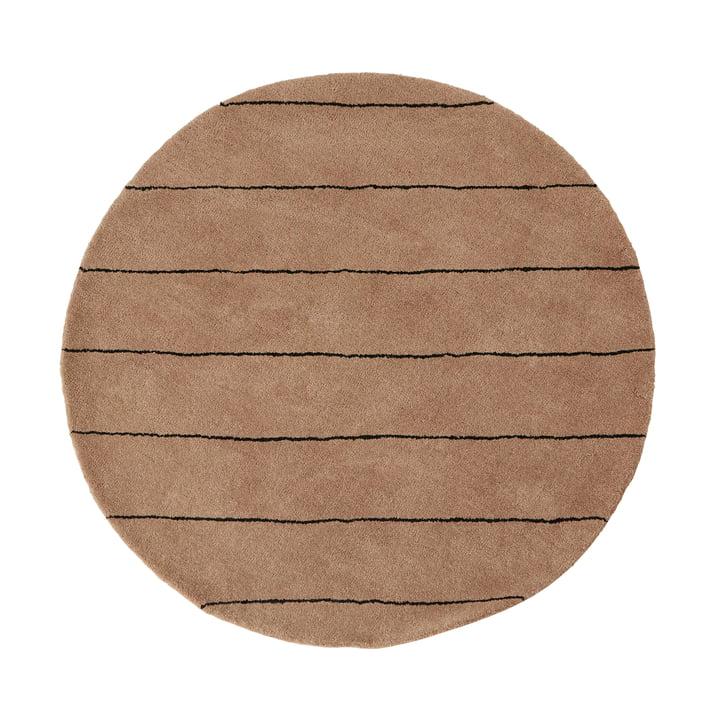 Striped Carpet Ø 120 cm from OYOY in choko