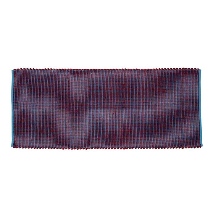 Woven carpet runner 80 x 200 cm, blue / bordeaux from Hübsch Interior