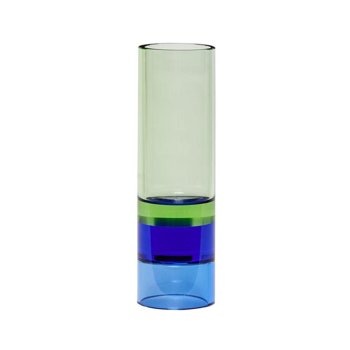 Crystal tealight holder / vase, green / blue by Hübsch Interior