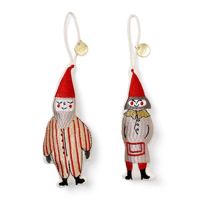 ferm Living - Pair of elves decorative pendants, striped (set of 2)