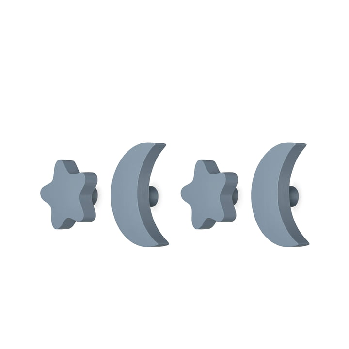 Stars & Moons Wall hook set, blue (4pcs.) by nofred