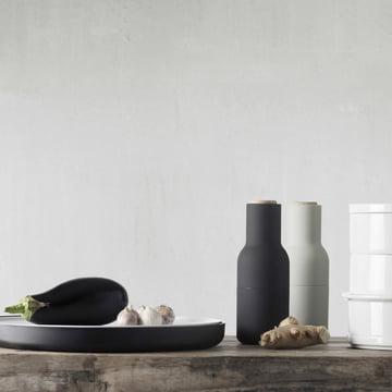 Menu - Bottle salt and pepper mill Set, small - stainless steel