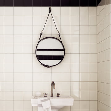 Adnet Mirror by Gubi in the Bathroom