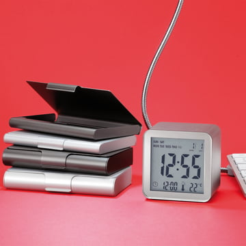 Lexon - Cube Sensor LCD alarm clock, aluminium, silver