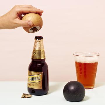 Areaware - Sphere bottle opener, natural wood, black