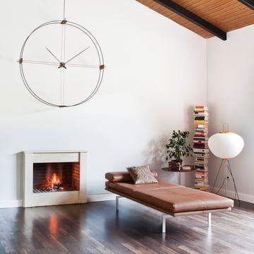 Delmori wall clock by nomom made of walnut wood in black