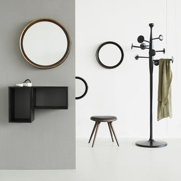 Oak stool with Trumpet coat stand, mirror and mango wood Box System by Mater