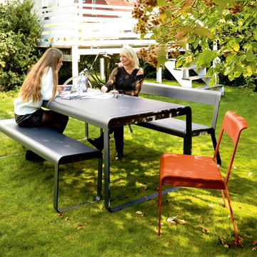 bellevie chair bench table and bench with backrest for outdoor use