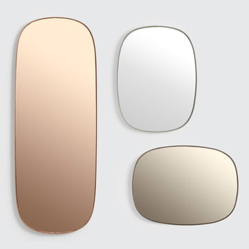 The Framed mirror by Muuto in large, pink / small, taupe / small, grey