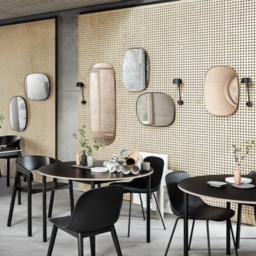 The Framed mirror by Muuto in large and small with the Lean Wall lamp
