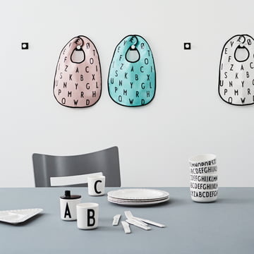 Kids' tableware and toys with ABC