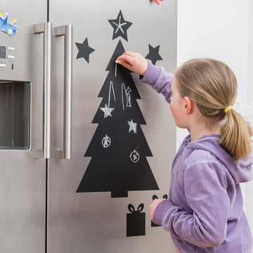 Chalkboard Christmas Tree on the Fridge