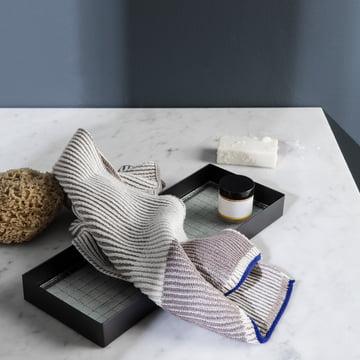 Akin Knitted tea towel on the Haze Tray