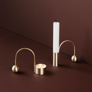 Tealight and Candleholder by ferm Living in Brass