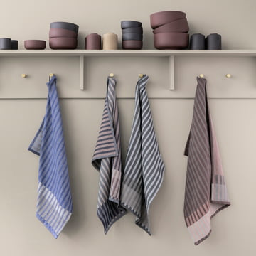Grain Jacquard Tea Towel, Brass Wall Hook with Sekki Bowls