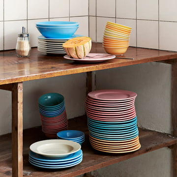 Rainbow Bowls, Plates and Italian Sugar Dispenser by Hay
