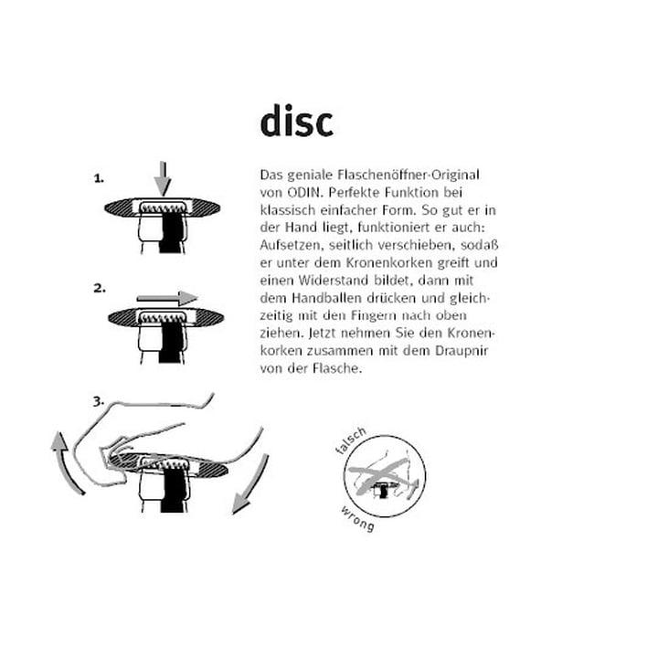 Instructions for the Disc bottle opener