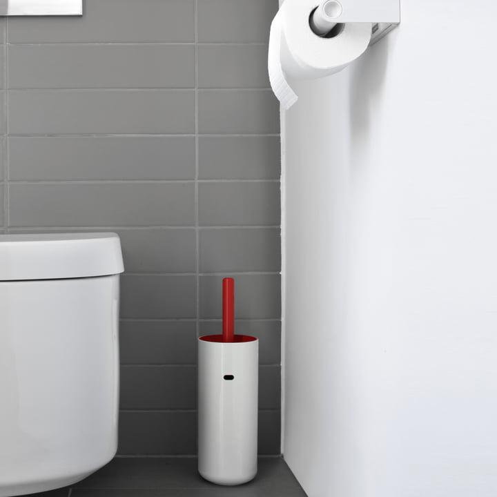 Toilet brush with coloured matte brush insert