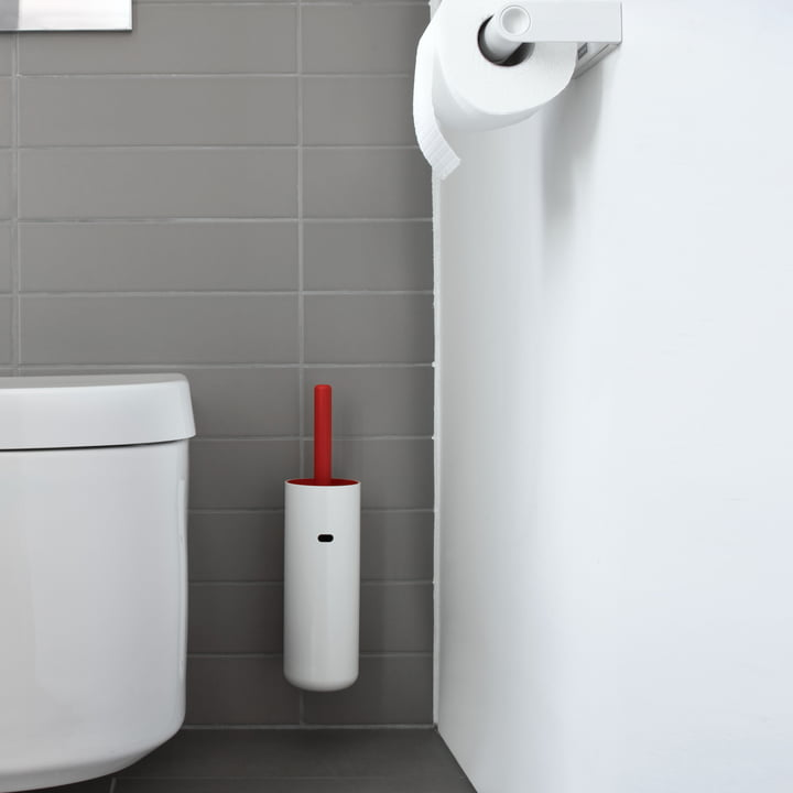 Authentics - Lunar wall-mounted toilet brush, red