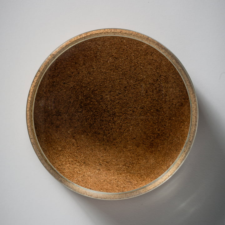 Hay - Lens Box / Lid, Ø 14, cork, glass - top view
