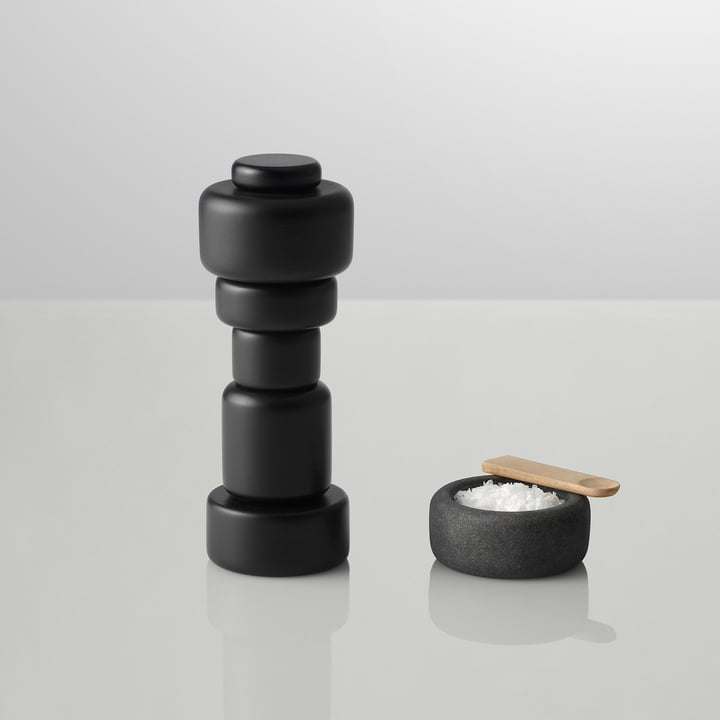 "Muuto - Salt and pepper grinder ""Plus"", black with One salt pot"