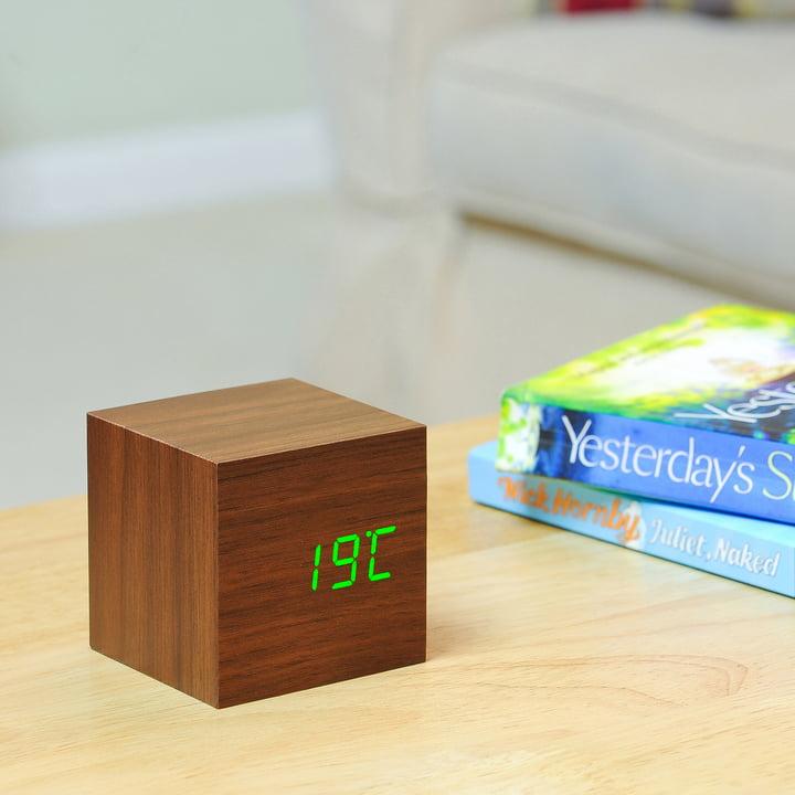 Gingko - Cube, walnut / LED green